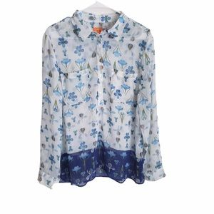 Joe Fresh Button down blouse floral print size L